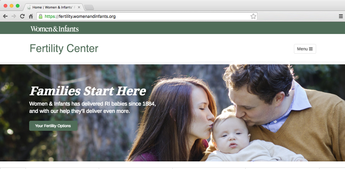 Women & Infants' Fertility Center Website
