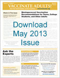Download May 2013 issue of Vaccinate Adults!