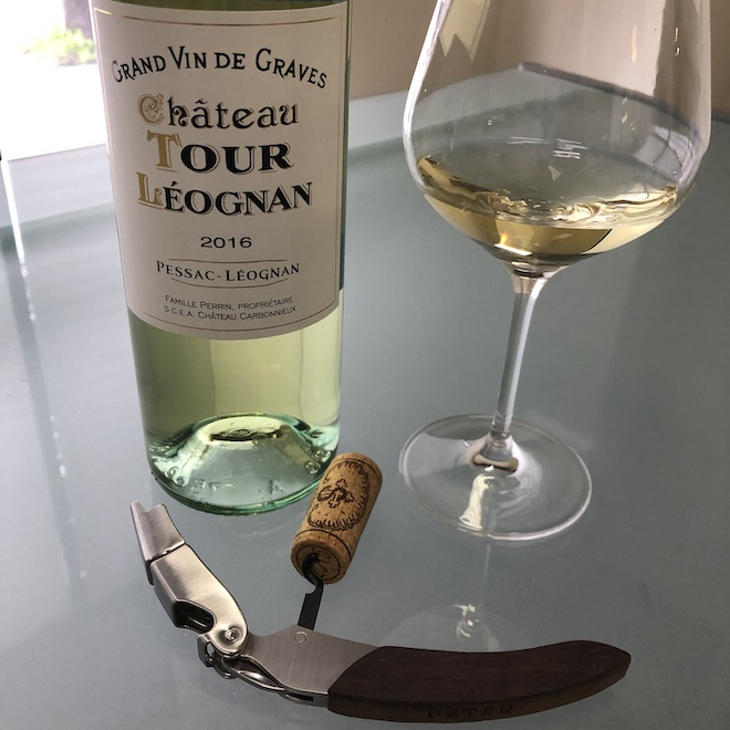 2016 Chateau Tour Léognan Blanc Bottle, Glass, Corkscrew