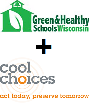Green and Healthy Schools Wisconsin and Cool Choices Logos with plus sign