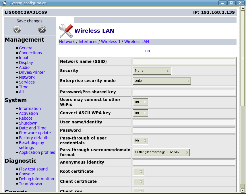 Screenshot of NoTouch Wireless Configuration Window