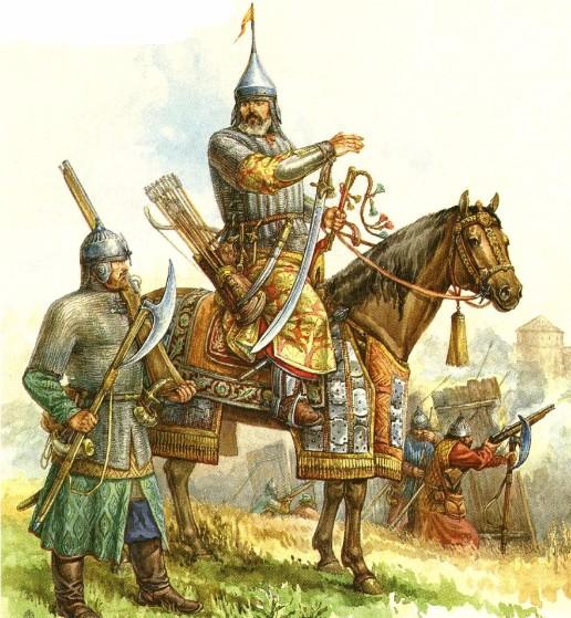 Всадник и пеший воин XVI века
