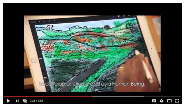 Image shows an ipad screen with a left hand hovering above it holding a white stylus. On the ipad is a drawing of a natural landscape in greens, oranges and greys. A caption over the image reads 'to develop artistically and as a human being'.