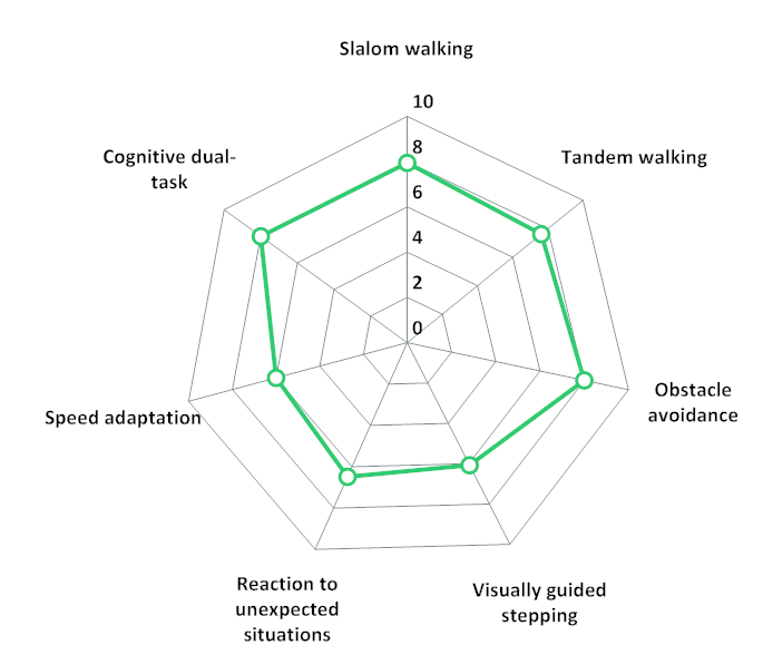 Visualisation of C-Gait assessment results in a spider diagram