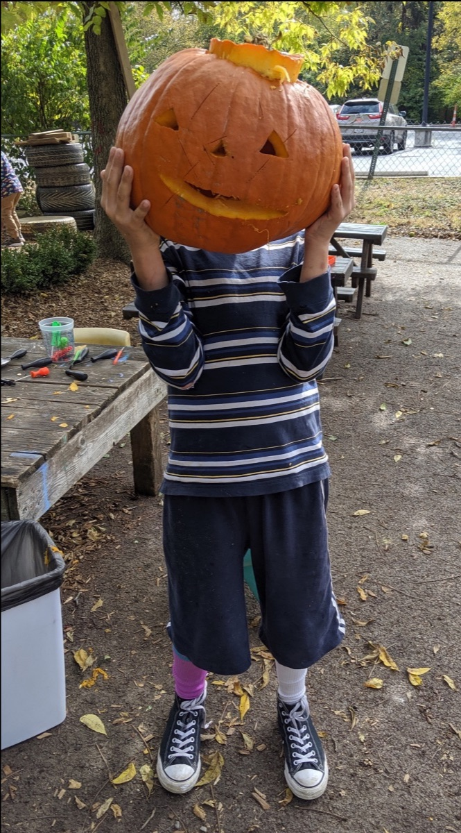 boy with pumpkin head