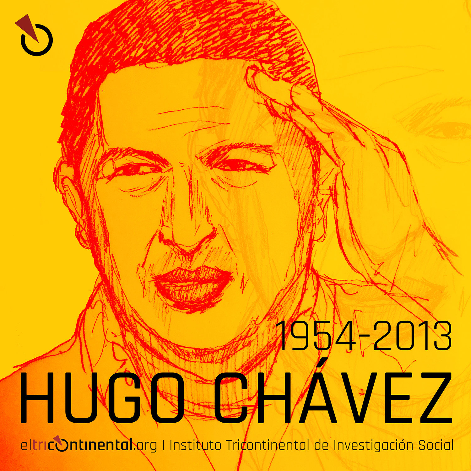 Pencil drawing of Hugo Chavez with his name and the dates 1954-2013 in the foreground.