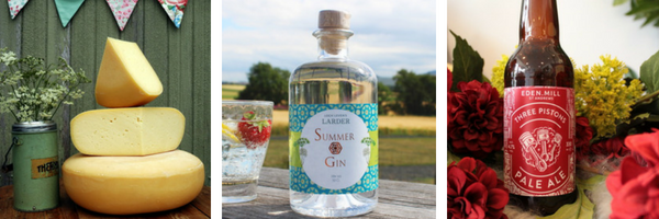 Connage Gouda, Loch Leven's Larder Summer Gin and Three Pistons Ale from Eden Mill