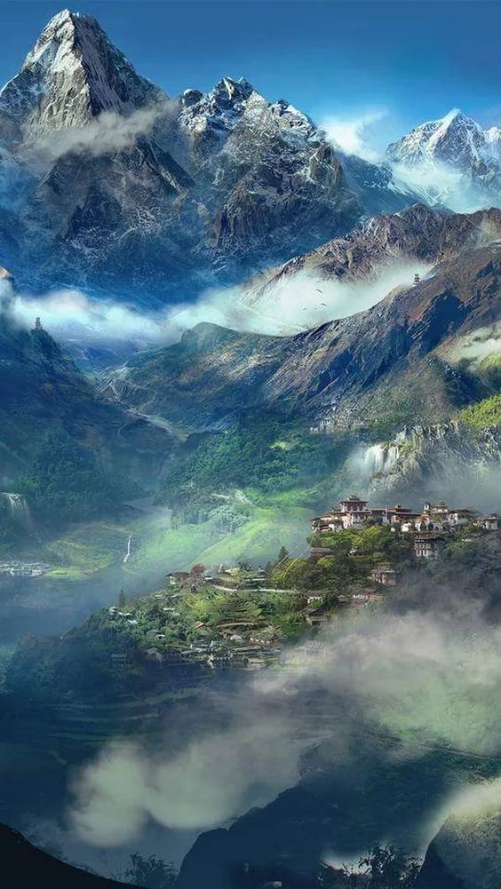 Mists Shrouds Tibetan Mountains. The Origin of Tibetan Singing Bowls.