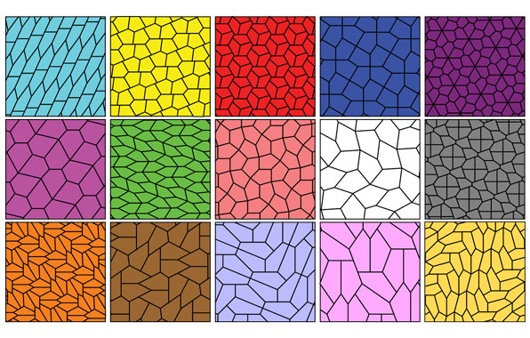 Fifteen different types of pentagonal tiling
