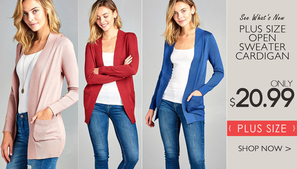 PLUS SIZE OPEN SWEATER CARDIGAN ONLY $20.99
