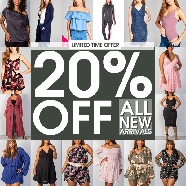 TAKE EXTRA 20% OFF ALL NEW ARRIVALS use code: EXTRA20APR - OFFER EXPIRES 04/13
