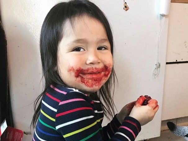 """From Danny Ishulutak on Instagram: """"#EatSealWearSeal, I too have had these moments with seal blood all over my face."""""""