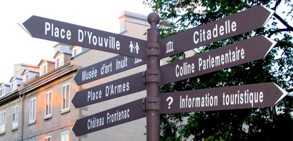 Directional signs in Quebec City