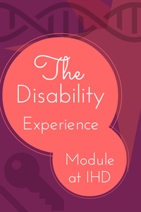 Vertical banner with key, d n a, and star icons. written is the disability experience module at IHD