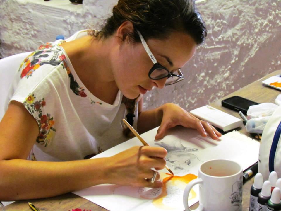 Sara illustrating