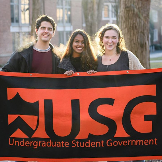 USG officers holding flag on first day of classes