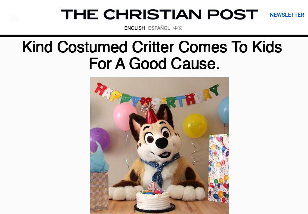 Kind costumed critter comes to kids for a good cause.
