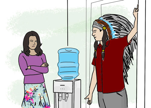 Houston putting on his best Native American impression to impress his colleague.