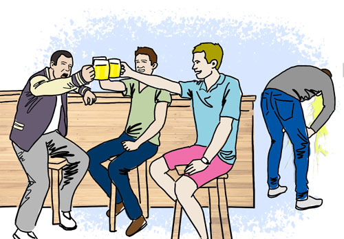 3 friends enjoying drinks while one throws up in the back