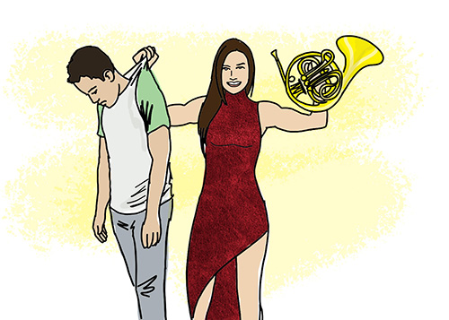 Most interesting woman holding up French horn, and a man