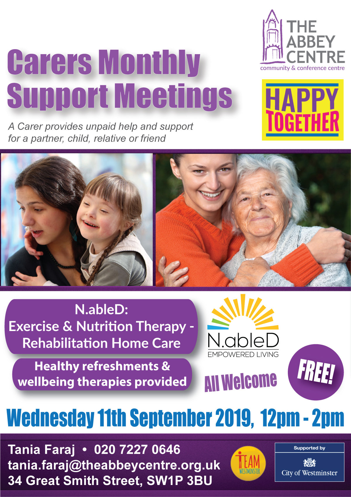 Carers Monthly Support Meeting poster
