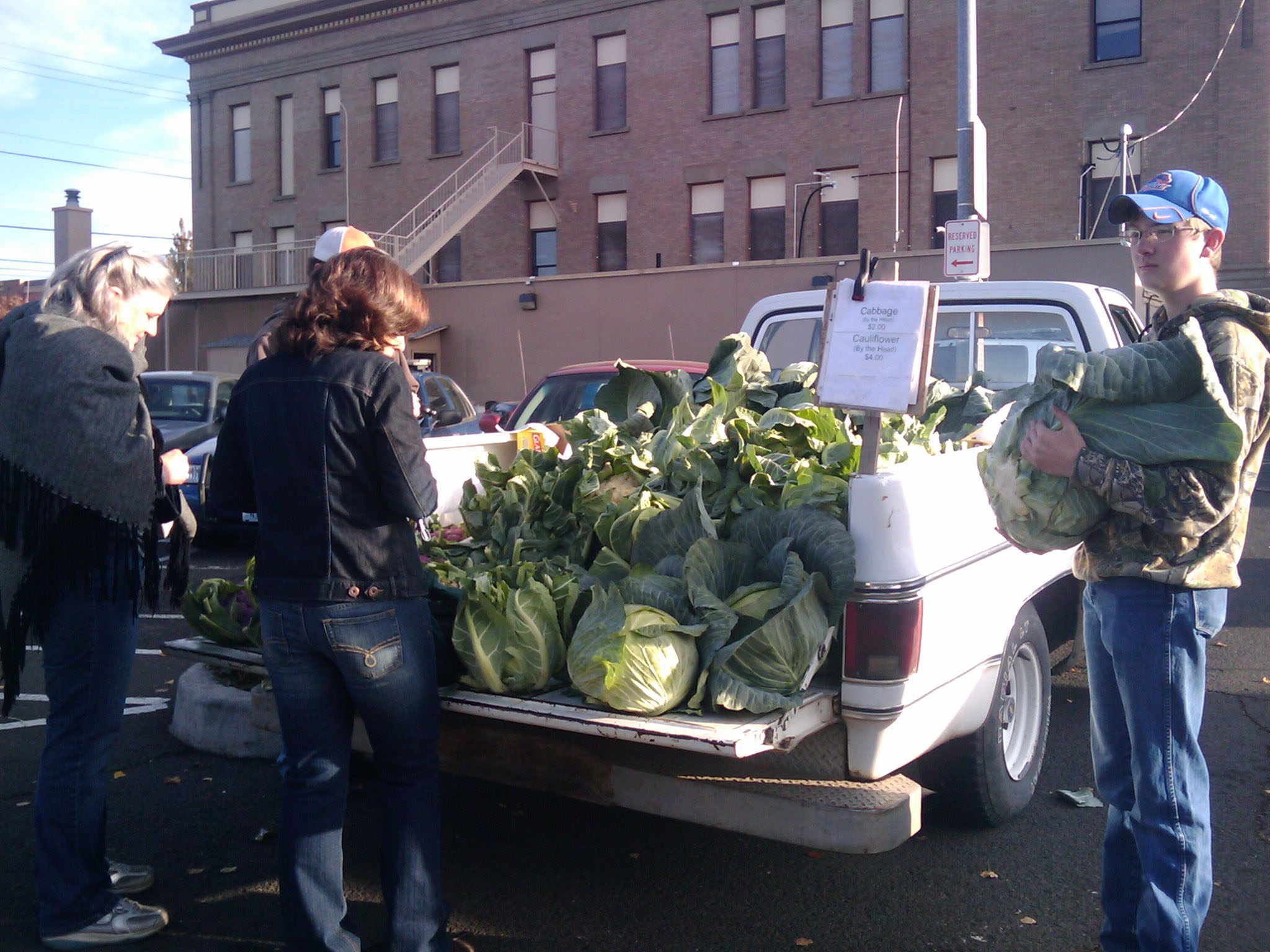 Handsome cabbages perfect for lacto fermenting, probiotics! Farmers' Market Tailgate Sale Walla Walla!