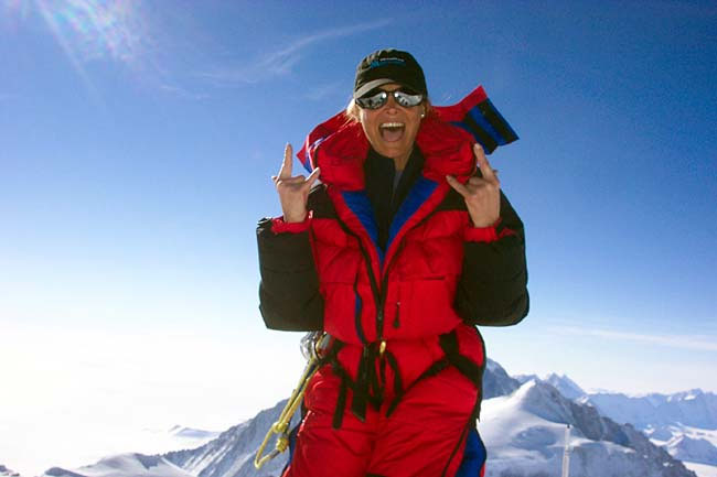 Saturn Scorpio to Sagittarius, Nancy Norris age 61, summit Vinson Massif, Antarctic 2005