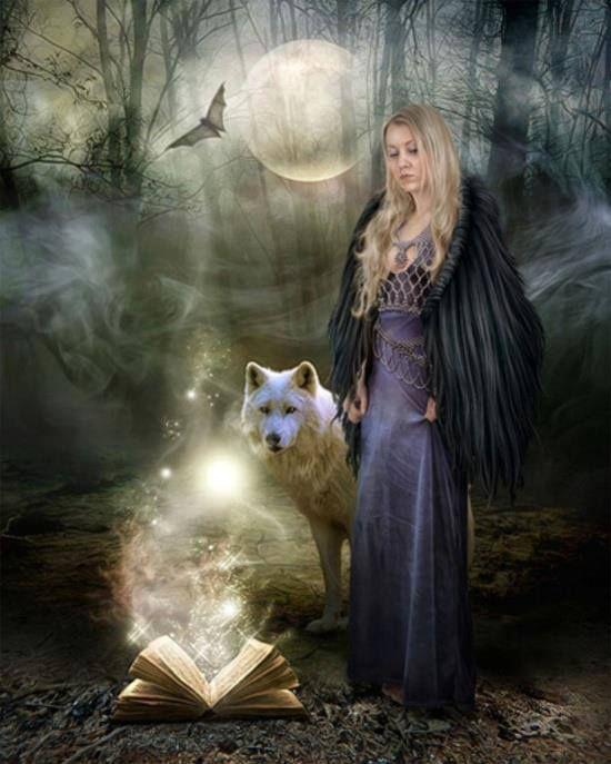 Full Wolf Moon Woman Book Sphere