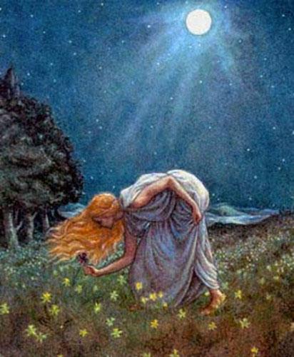 Cancer Midsummer Night Woman Moon Flowers