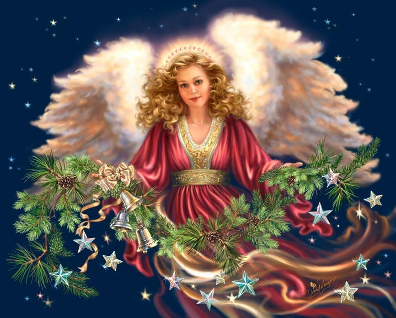 Christmas Holiday Angel, Capricorn, winter greens, stars!
