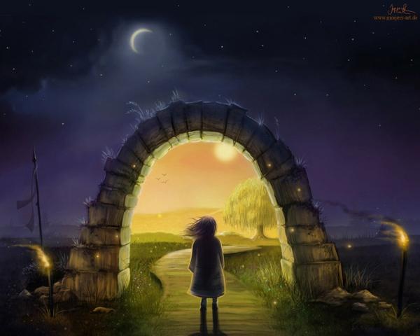 New Moon Portal Stone Arch Night Sky Girl Path