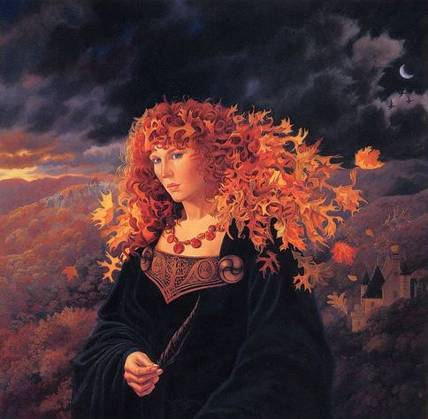 Libra Mabon Equinox Goddess Leaves Hair Sanderson