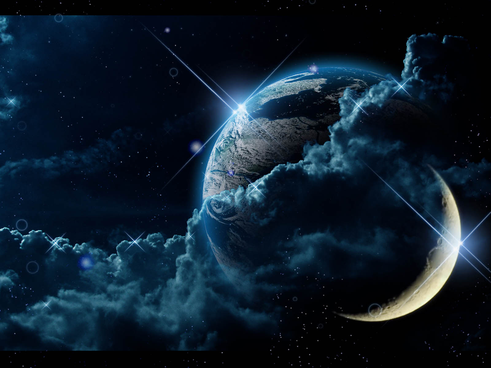 Earth Moon Crescent