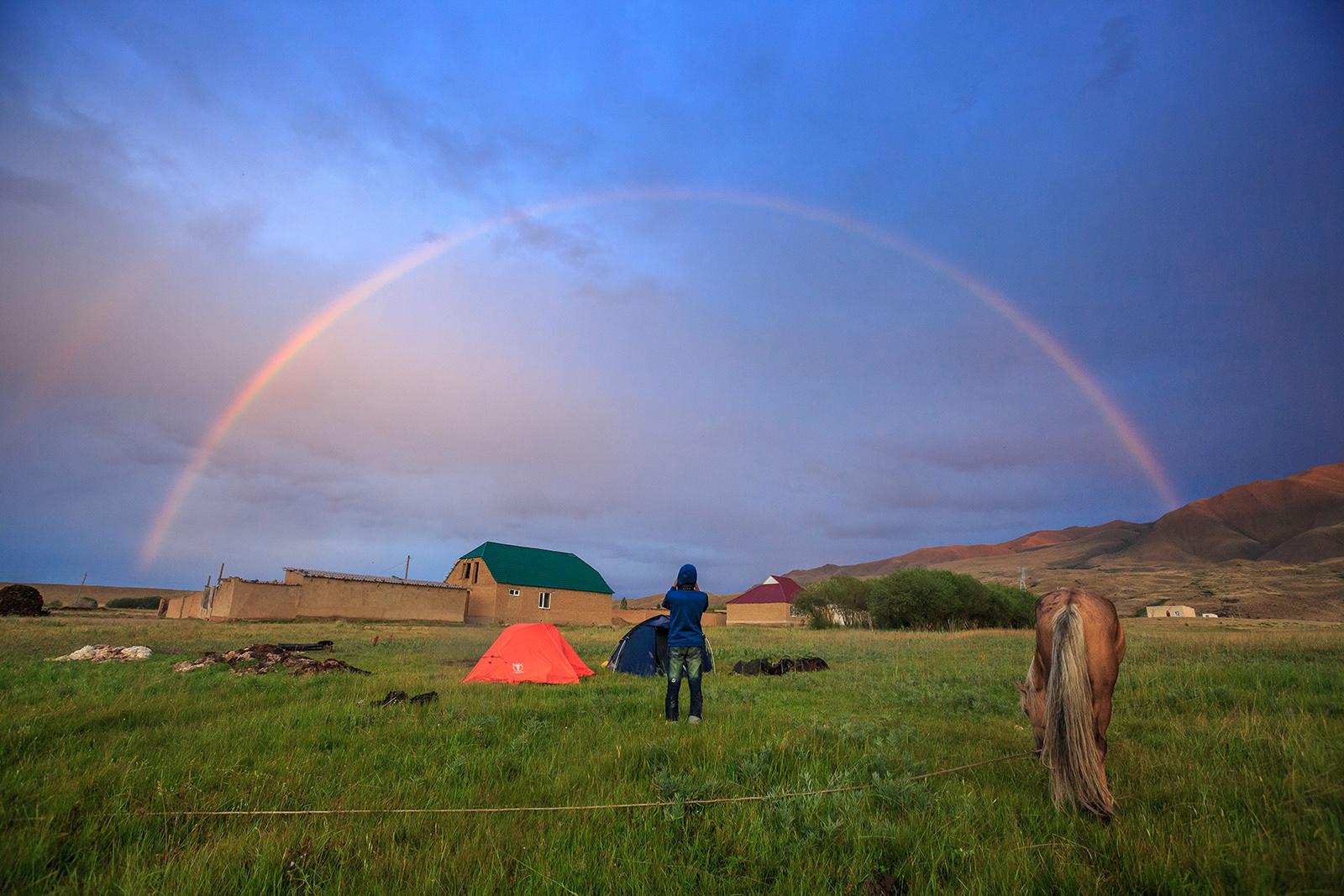 Sagittarius Rainbow Camping Lake Kol Ukok Tien Shan Kyrgyzstan
