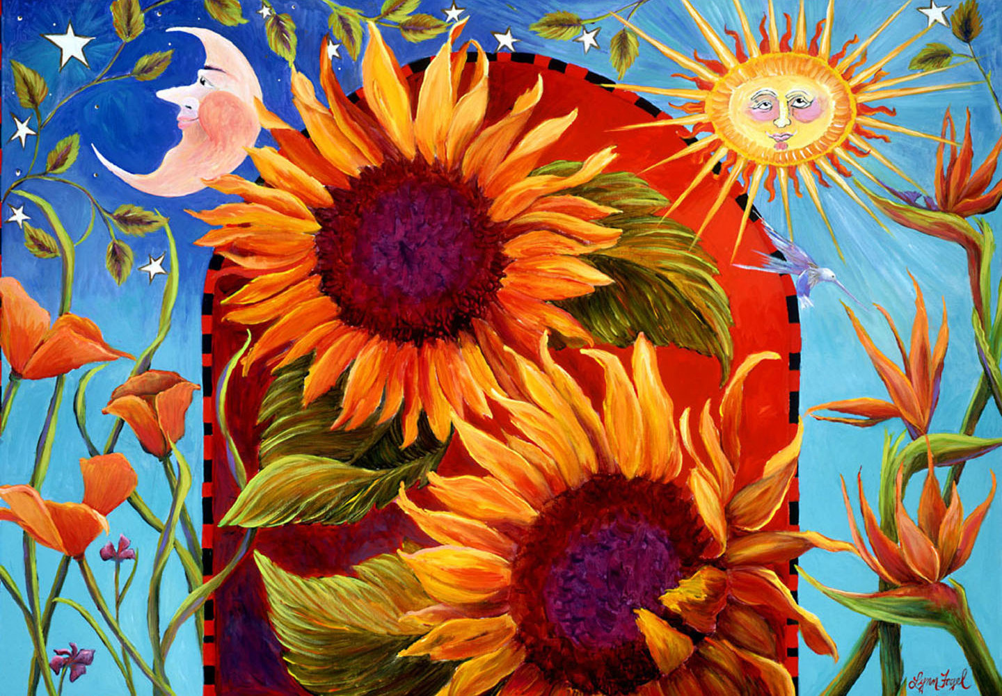 Wonderful Artist, LynnFogel's painting inspired by the Santa Barbara CA Summer Solstice Parade!