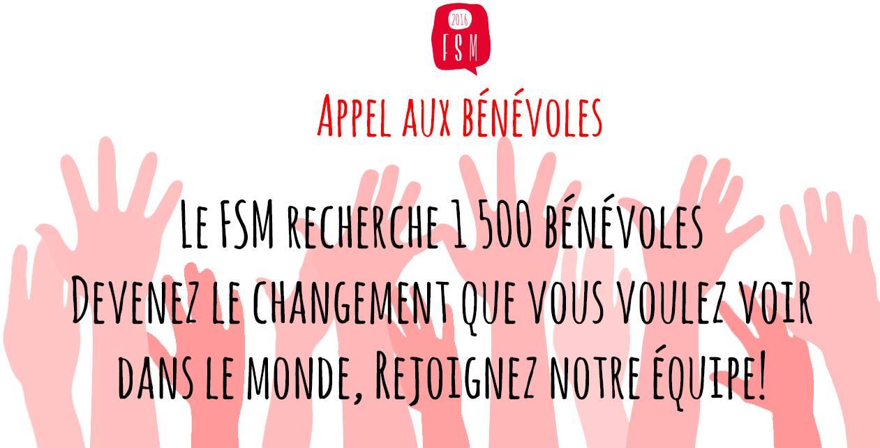 Affichette web sur fond d'ombres roses de mains levées et ouvertes.  Appel aux bénévoles - Le FSM recherche 1500 bénévoles. Devnez le changement que vous voulez voir dans le monde.