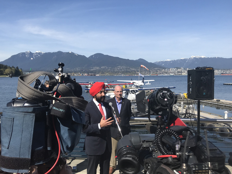 The Honourable Navdeep Bains, Canada's Minister of Innovation, Science and Economic Development at the inaugural flight of the Vancouver-Seattle seaplane service