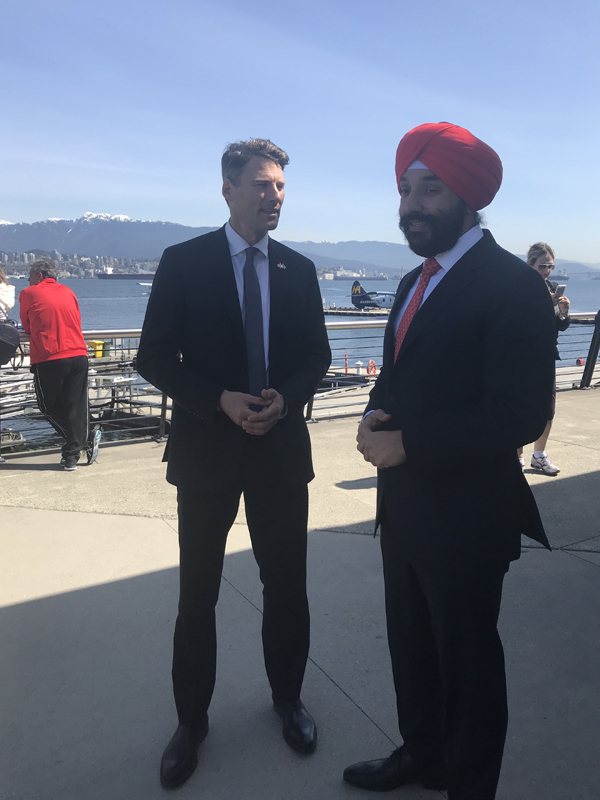 Gregor Robertson, Mayor of Vancouver and theHonourable Navdeep Bains, Canada's Minister of Innovation, Science and Economic Development