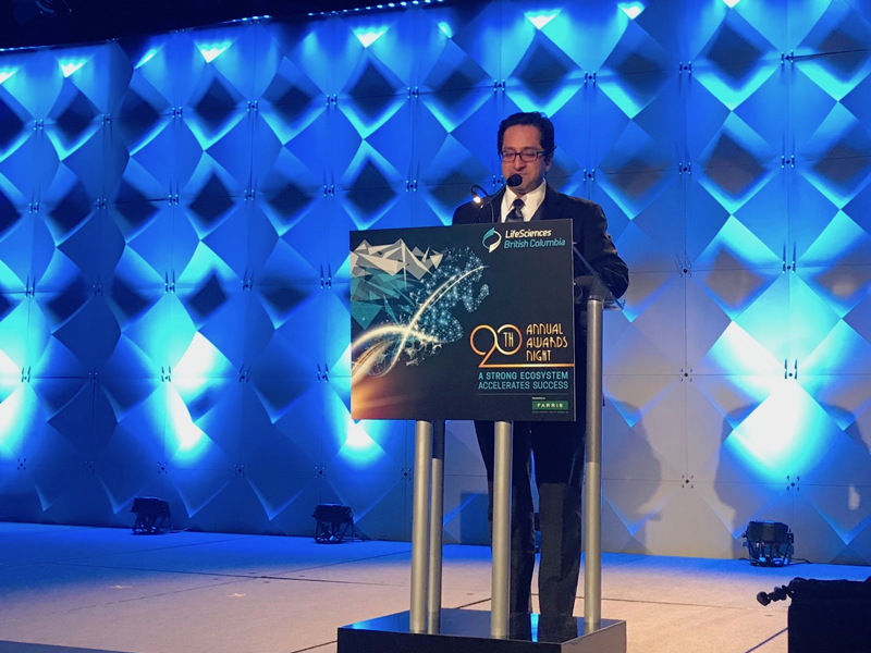 Ali Ardakani, Founder & Managing Director of Novateur and Vice Chair of the LifeSciences BC Board of Directors, speaking at the 20th Annual LifeSciences BC Awards in Vancouver