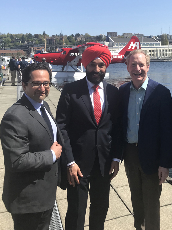 Ali Ardakani, Vice Chair of the LifeSciences BC Board of Directors and Founder & Managing Director of Novateur, the Honourable Navdeep Bains, Canada's Minister of Innovation, Science and Economic Development and Brad Smith, President of Microsoft