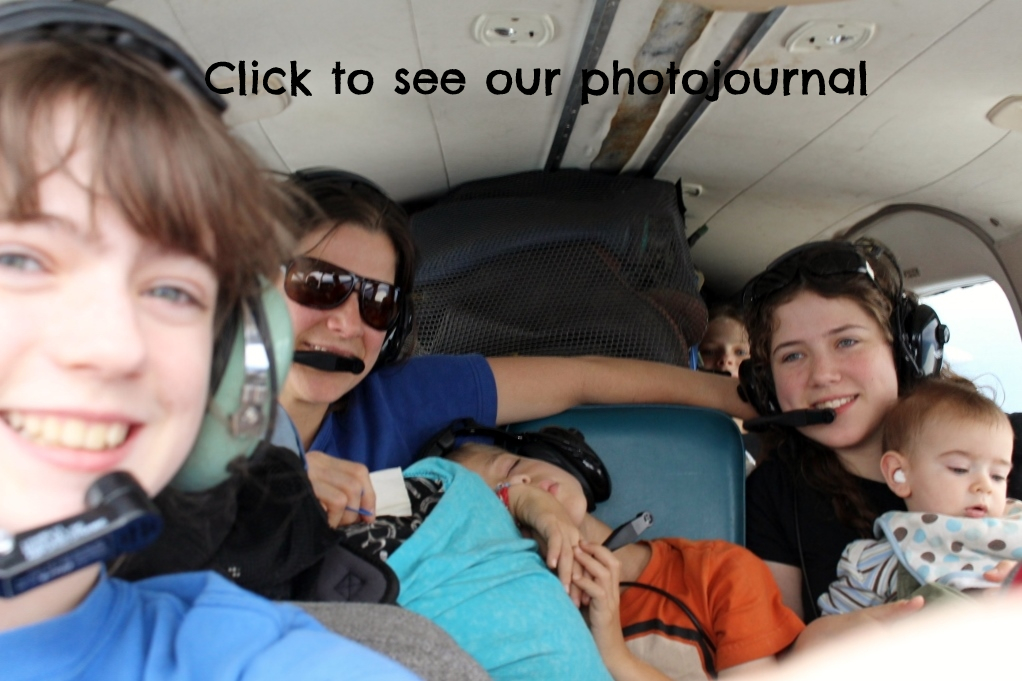 Family in airplane