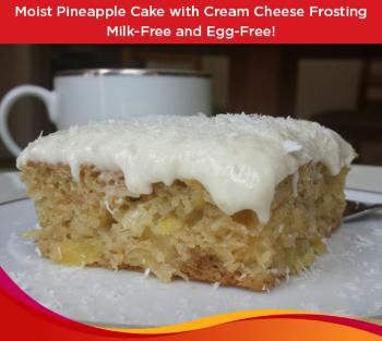 vegan pineapple cake free of milk, egg, nuts