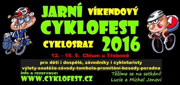 pozvánka na tradiční víkendový cyklosraz Jarní Cyklofest 2016 - www.cyklofest.cz