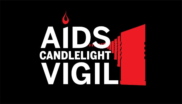 AIDS Candlelight Vigil logo with AIDS memorial pillars in red and text in white