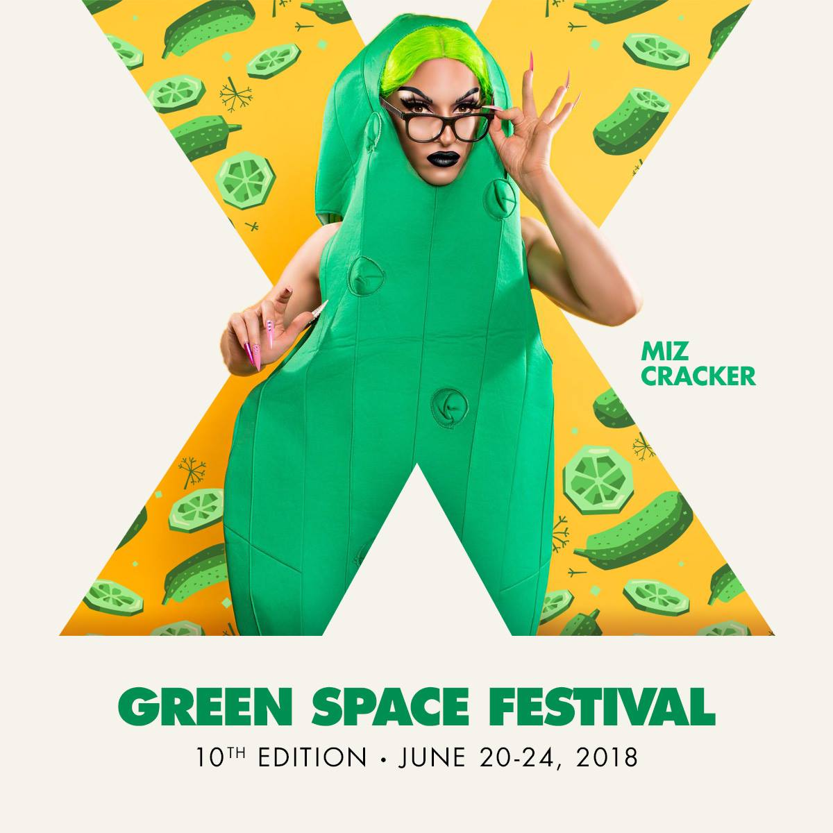 Miz Cracker with text Green Space Festival, 10th Edition - June 20-24, 2018