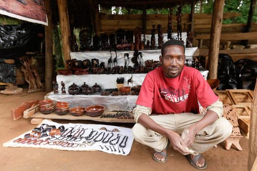 Shopkeeper selling curios