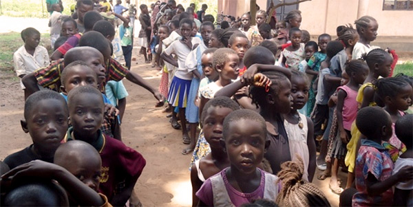 Orphans Waiting in Line