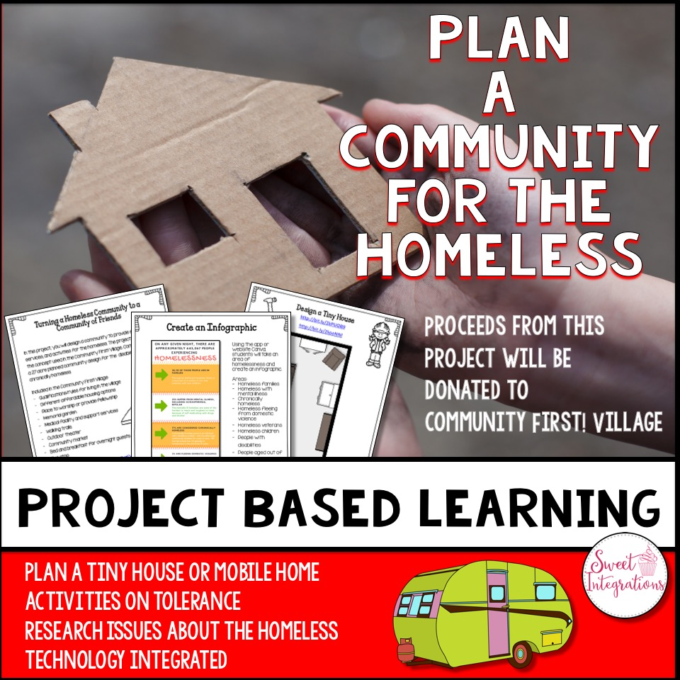 "Click to buy the PBL unit ""Plan a Community for the Homeless"" and all proceeds will help the Austin, Texas homeless population"