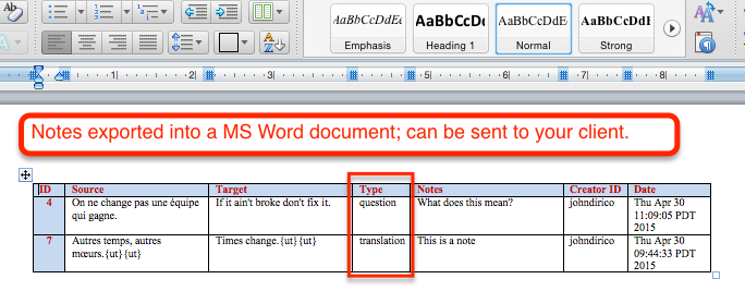 Wordfast Pro exported notes Word document