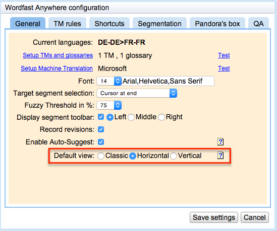 Wordfast Anywhere Configuration